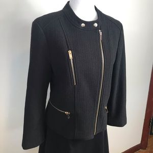 Ann Taylor Black Moto Jacket w/Gold Zipper 12